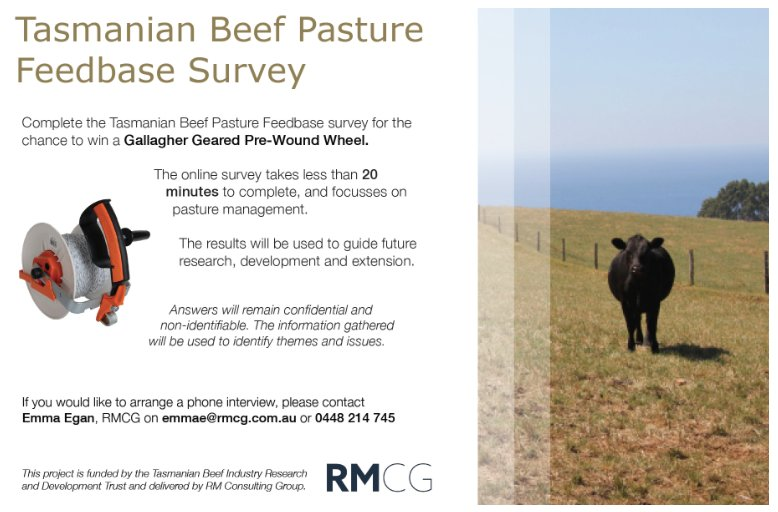 The Tasmanian Beef Pasture Feedbase Online Survey...