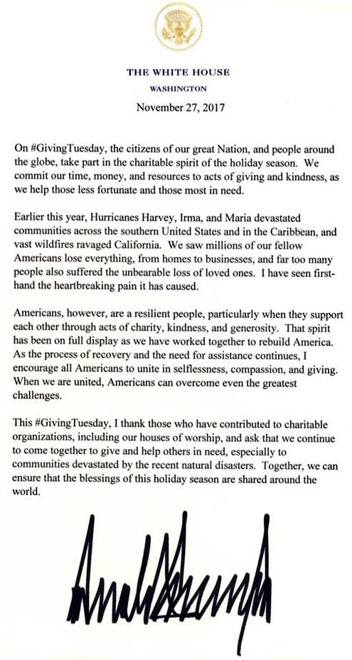 President @realDonaldTrump re: #GivingTuesday.... https://t.co/uaZyveuqUh