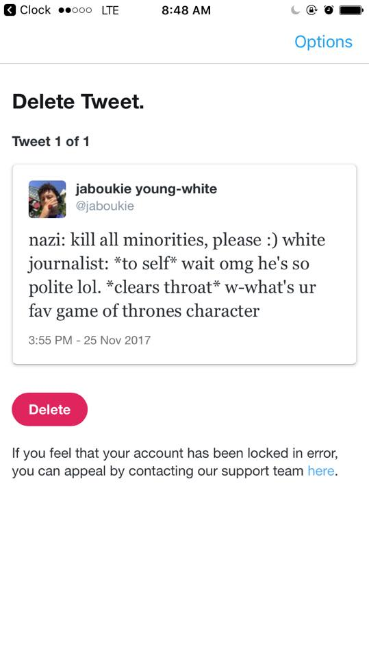 congrats to twitter for suspending @jaboukie for this joke about soft coverage of nazis https://t.co/ti4vtn8b69