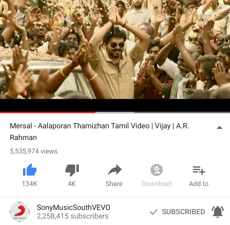 Finally #AalaporaanThamizhan Video Overtakes #Maacho Video Views ����  #Mersal https://t.co/UOWBXpsNQX