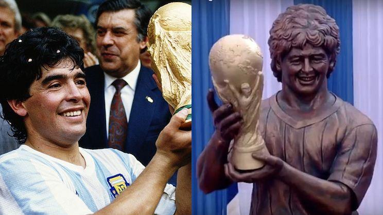 Diego Maradona's statue gives Cristiano Ronaldo's bust a run for tarnished bronze