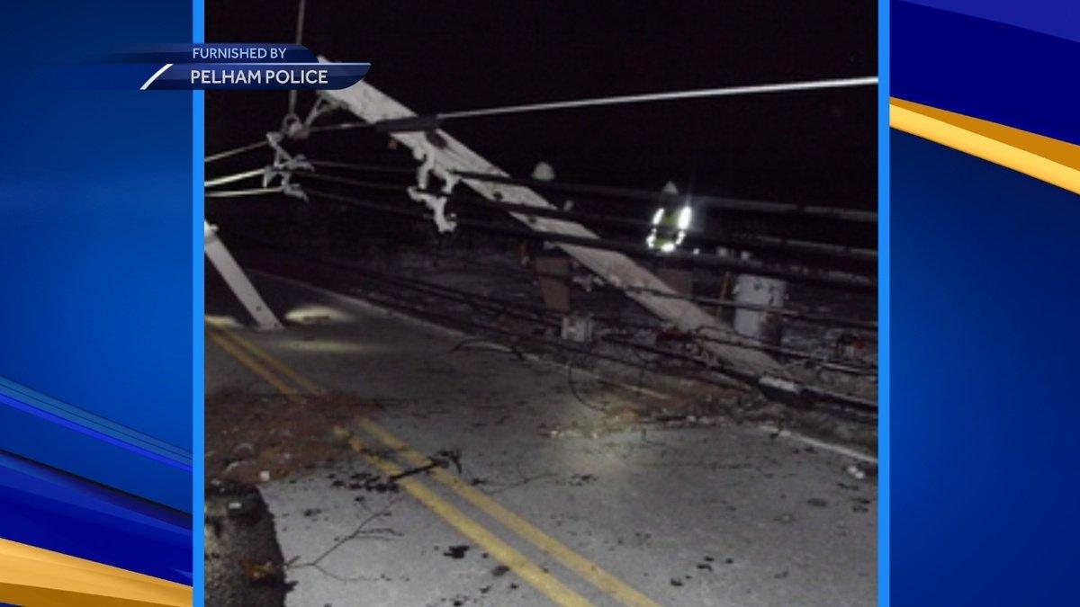 Driver knocks down utility pole in Pelham