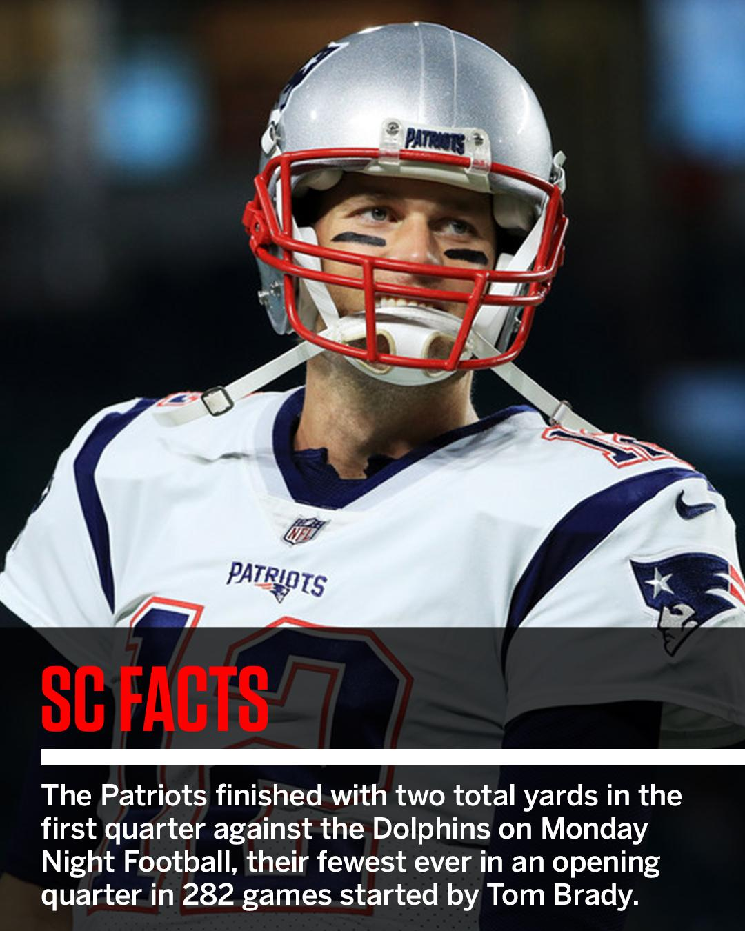 Tom Brady and the Patriots didn't look like themselves in the first quarter on Monday Night Football. #SCFacts https://t.co/k4tFoSXyC9