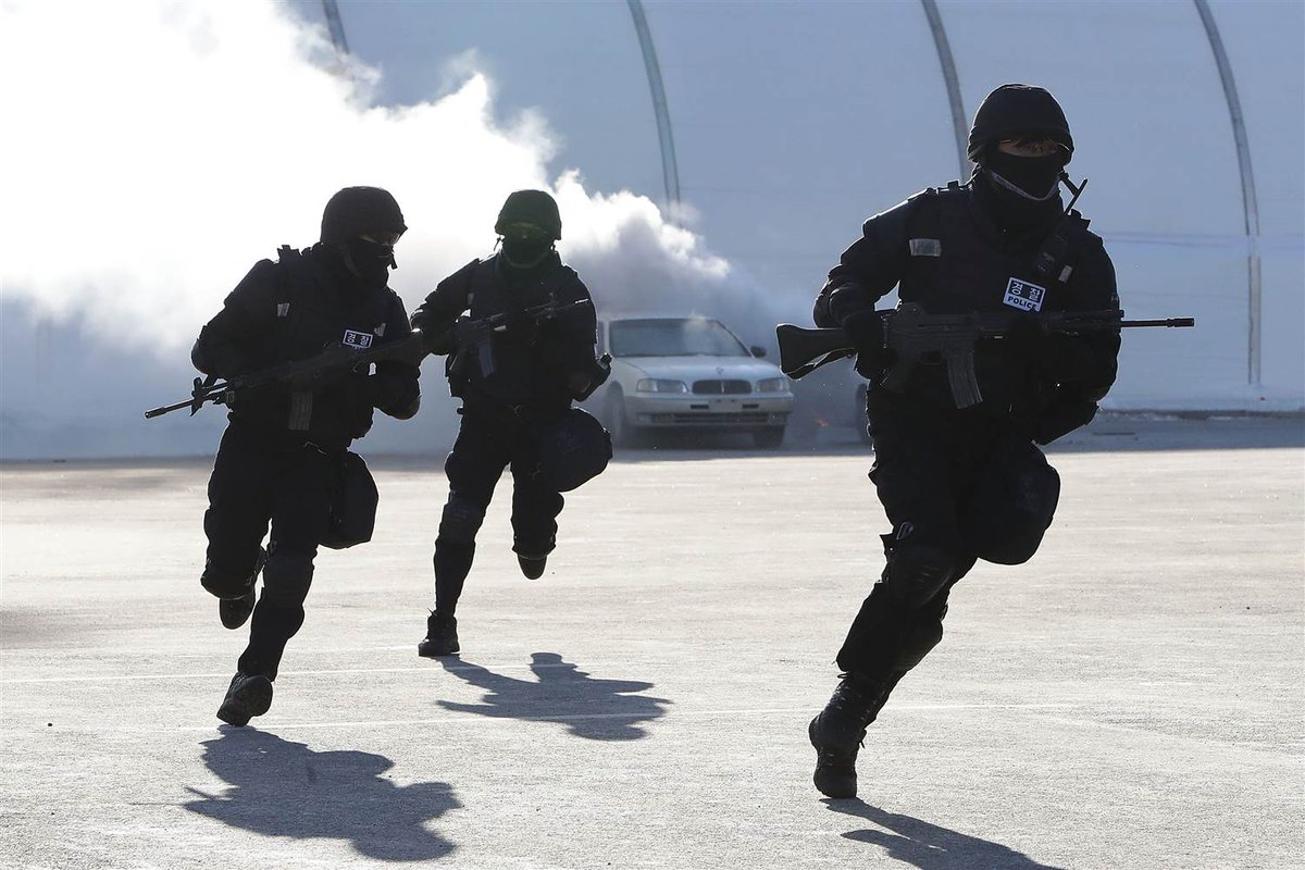 South Korea has conducted anti-terror drills ahead of Olympics