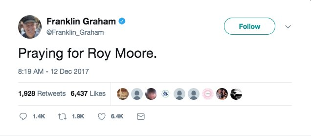 Top evangelical leaders voice support for Roy Moore https://t.co/pImWO9FNV5 https://t.co/eBrZ8tveVk