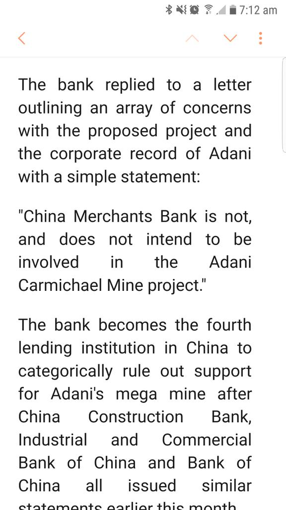 A 4th Chinese bank, China Merchants Bank, tersely rejects role in #Adani mine.  Not a shock, given Newcastle... https://t.co/jooD71f6rQ