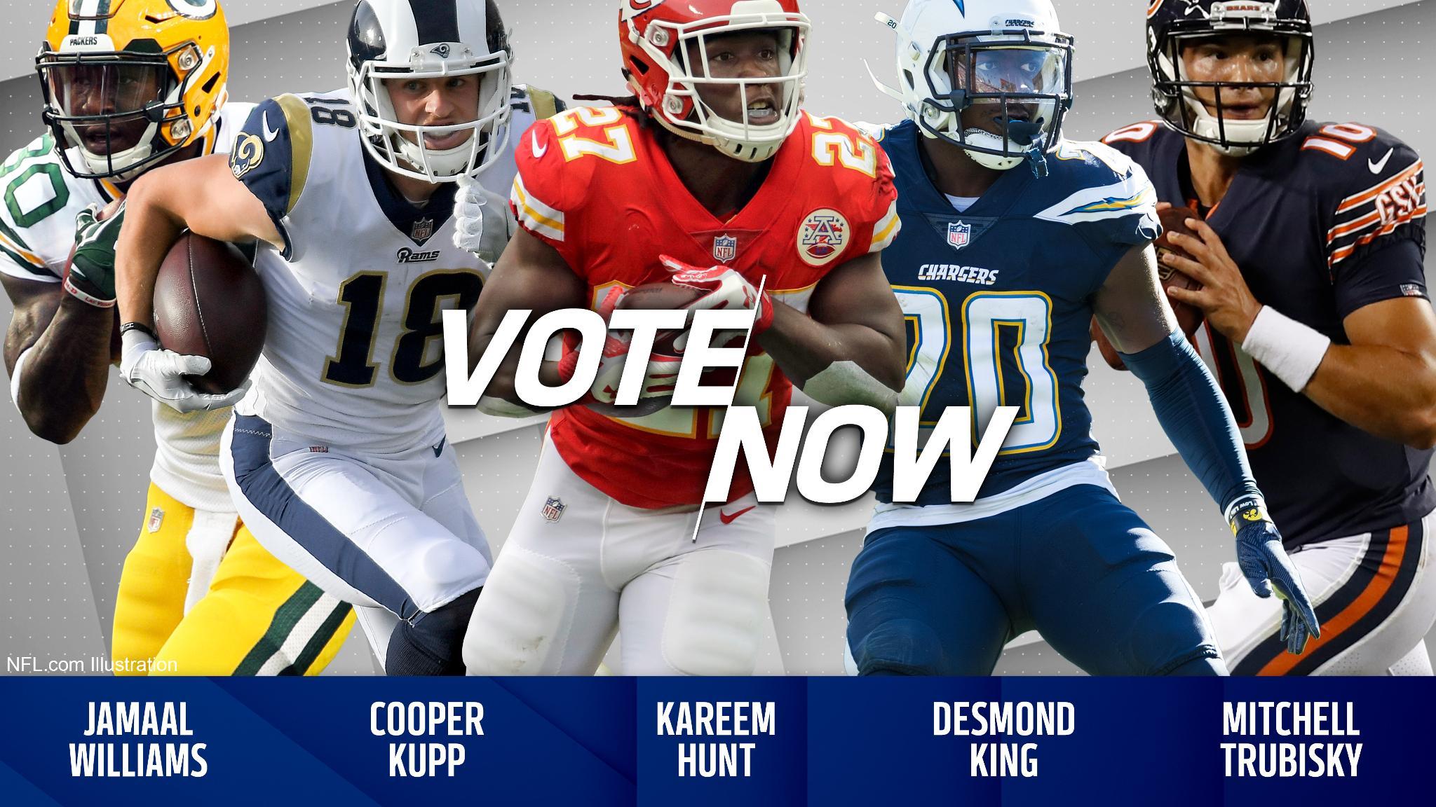 VOTE for the @pepsi Rookie of the Week!  Tweet player's name + #NFLROTW: Williams. Kupp. Hunt. King. Trubisky. https://t.co/5qqmg3QTQA