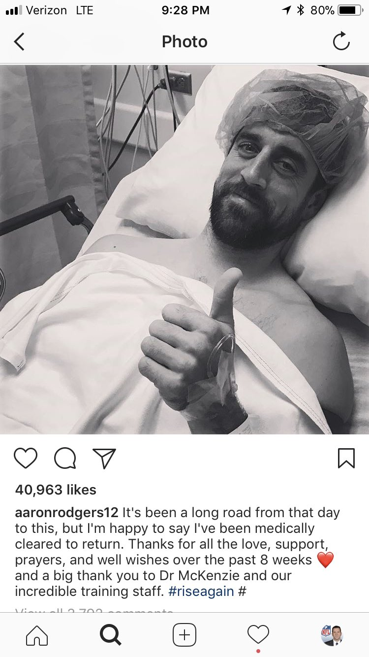 #Packers QB Aaron Rodgers posts on Instagram that he's medically cleared. He's back. https://t.co/tKxxvRHKg9