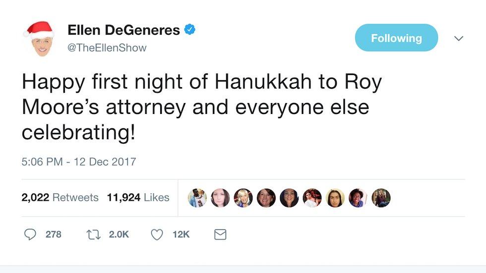 Ellen DeGeneres trolls Moore: Happy Hanukkah to his attorney https://t.co/EweXKYdqks https://t.co/yYMMYAeSLf