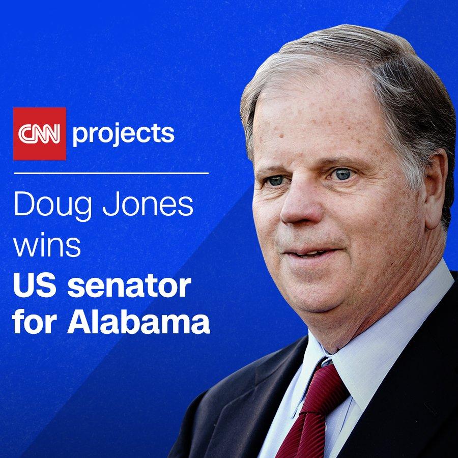 BREAKING: Democrat Doug Jones will win the Senate special election in Alabama, CNN projects https://t.co/tjWsCos6zS https://t.co/Mx5S4nCk9t