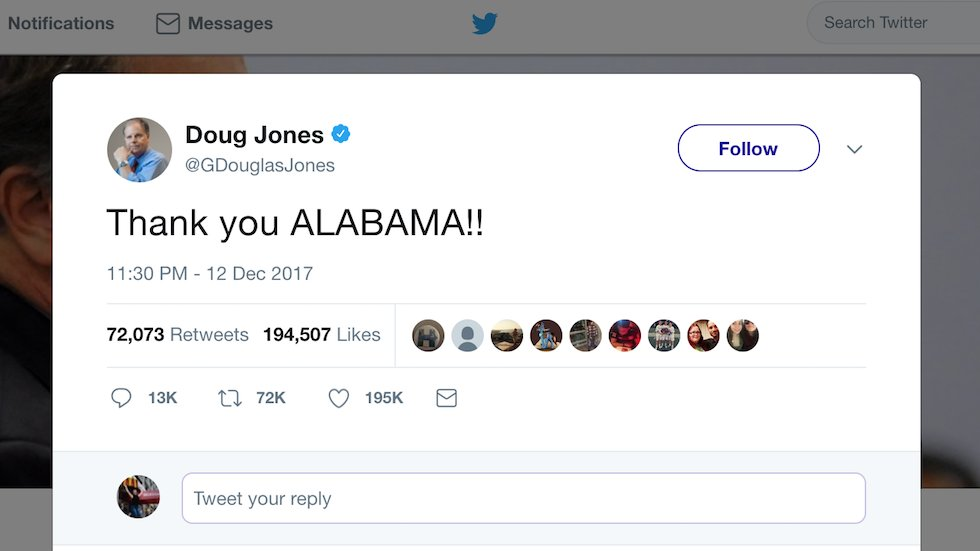 Jones celebrates win: 'Thank you ALABAMA!!' https://t.co/rFarmQpiwn https://t.co/8L4WGyNWt4
