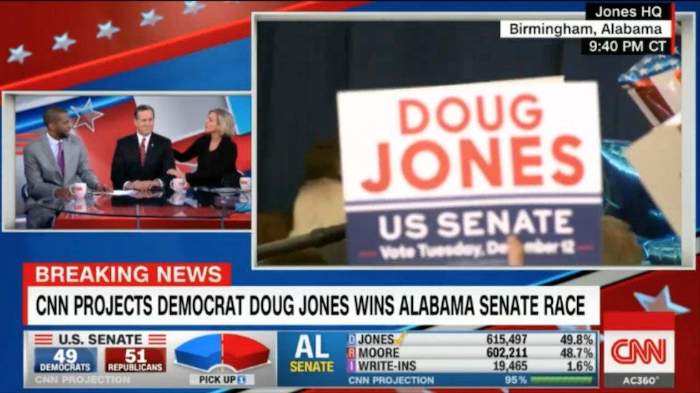 WATCH: Dem commentators accidentally high-five Santorum's face while celebrating Jones win https://t.co/OKI7Y6Q8pm https://t.co/1lW3qk9SLN