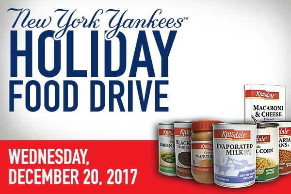 One week til the Annual Holiday Food Drive at the Stadium!  On Dec. 20 from 9:30 a.m. – 3:00 p.m., fans can donate 30 lbs. of non-perishable food items and receive a voucher good for 2 tickets to a select Yankees game in 2018! https://t.co/P4PnsWoDgN