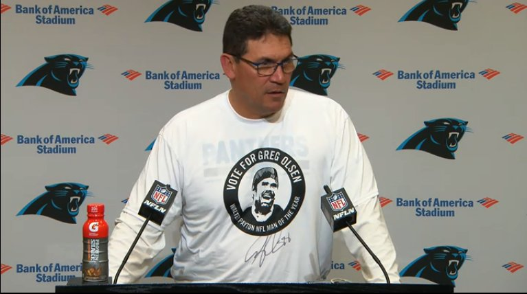 Ron Rivera is at the podium with a special shirt ��  Watch LIVE:  https://t.co/e1mOermj49 https://t.co/FXeU5LtrgT