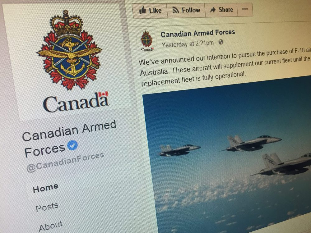 Canadian Forces touts used Aussie F-18 fighter jet purchase with Super Hornet pic