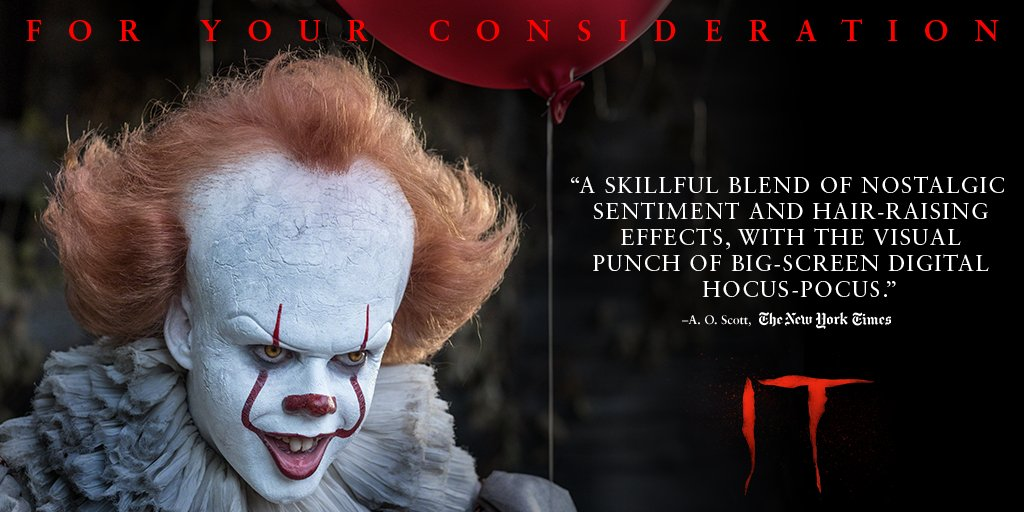 RT @ITMovieOfficial: #ITMovie. For Your Consideration in All Categories. https://t.co/IG1ZJ7madB https://t.co/hFwKywjRiw