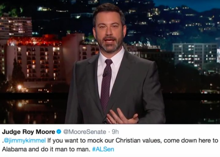"Jimmy Kimmel teaches Roy Moore a thing or two about ""Christian values"": https://t.co/up8i9fqTMy https://t.co/JEFT4Dskgy"