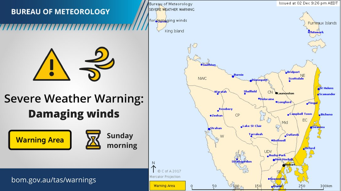 SEVERE WEATHER WARNING for DAMAGING SOUTHERLY...