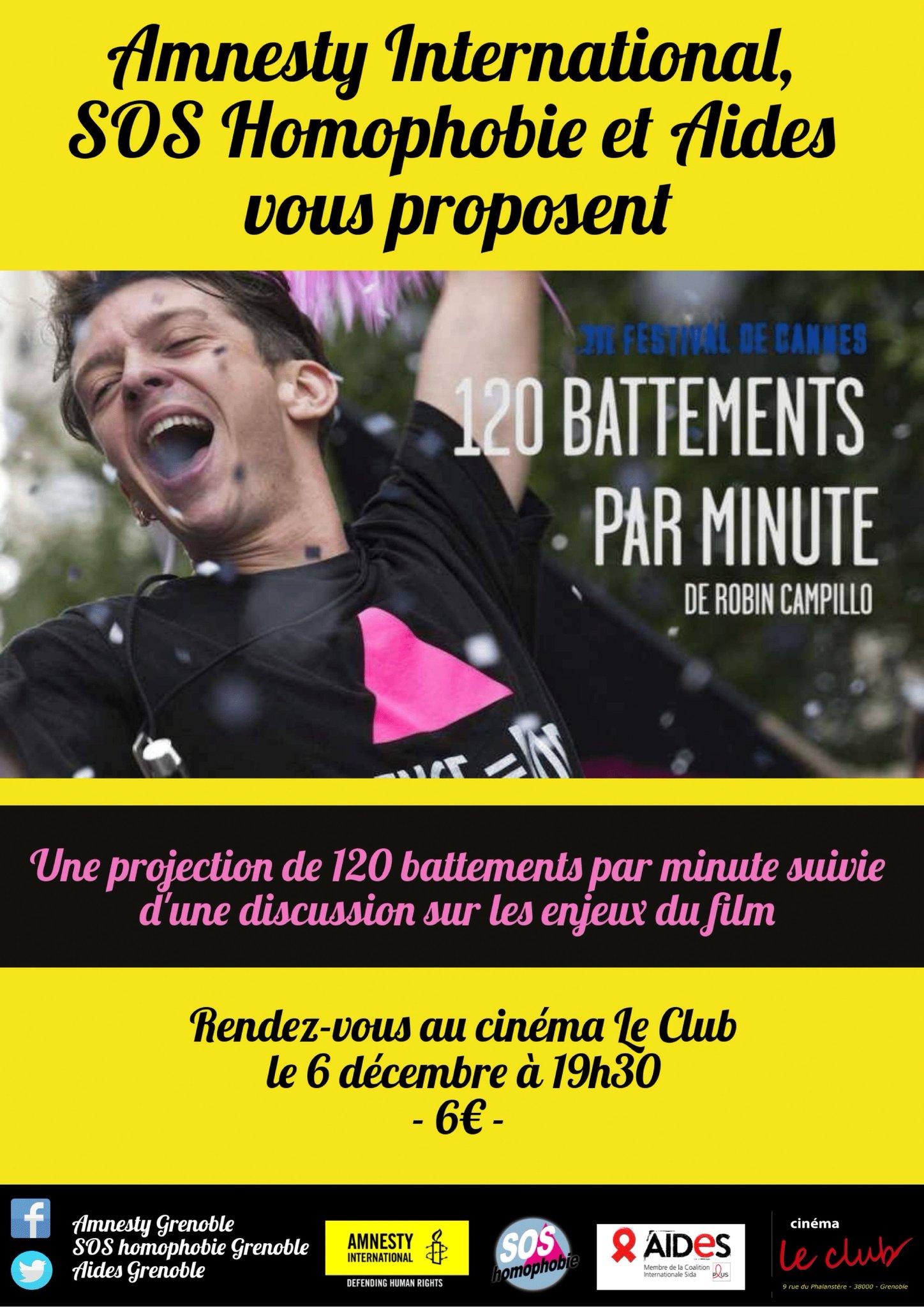 Le 6 décembre, @GrenobleAmnesty vous emmène au cinéma ! Au programme : la diffusion du film 120 Battements par minute, suivie d'une intervention de militants de @SOShomophobie et @assoAIDES Pour l'occasion, les places seront vendues à 6 euros. Au plaisir de vous voir là-bas ! https://t.co/WxQM3gzo1A