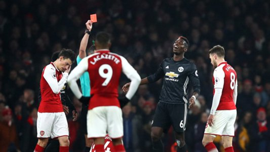 Pogba to miss Manchester derby after Arsenal red card