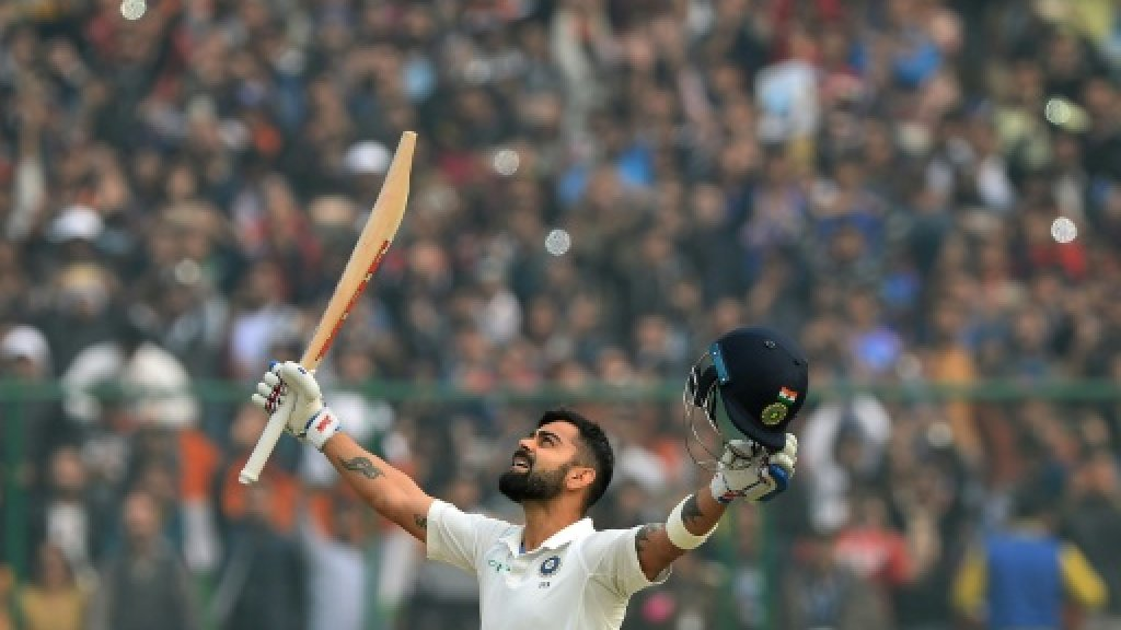 Kohli double century puts India on top of pollution-hit Test