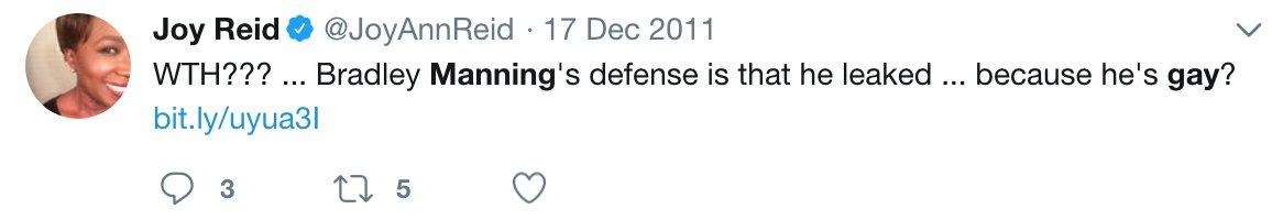 RT @JulianAssange: Joy Ann Reid's homophobia also targeted Chelsea Manning https://t.co/AkGxm40W4X https://t.co/qrLuO36u1y