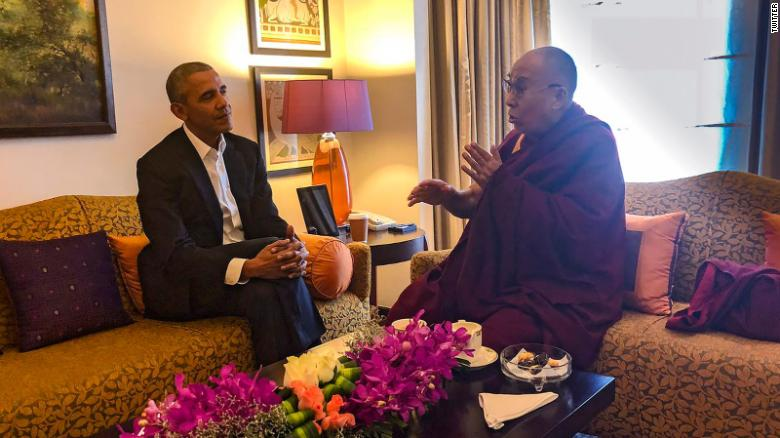 Former President Obama met with the Dalai Lama in India