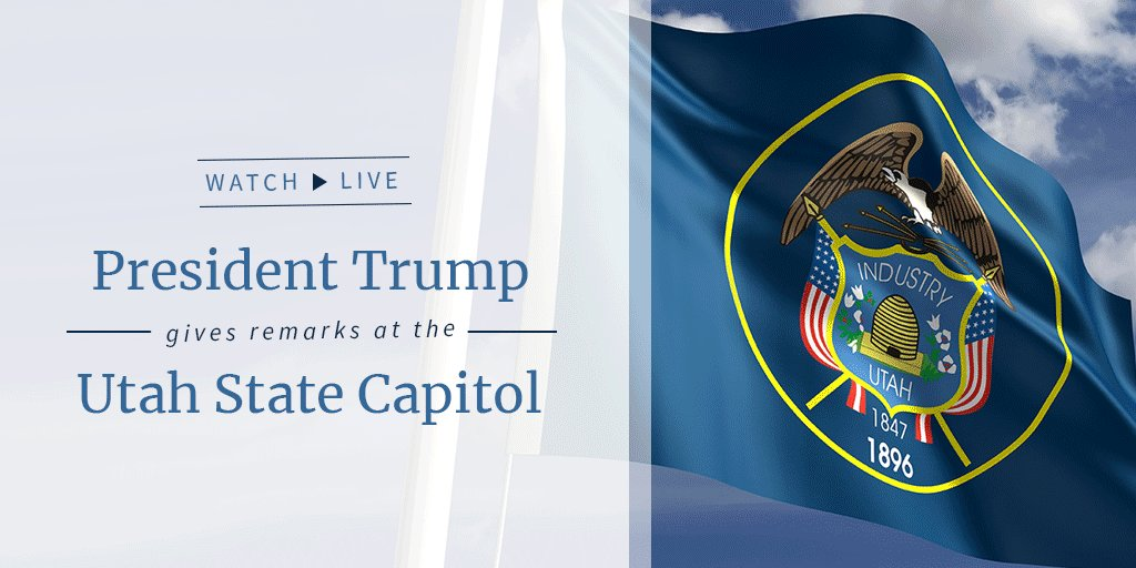 Watch LIVE as President Trump gives remarks at the Utah State Capitol: https://t.co/lFOkDaVGOc https://t.co/FGpFsrqAxE