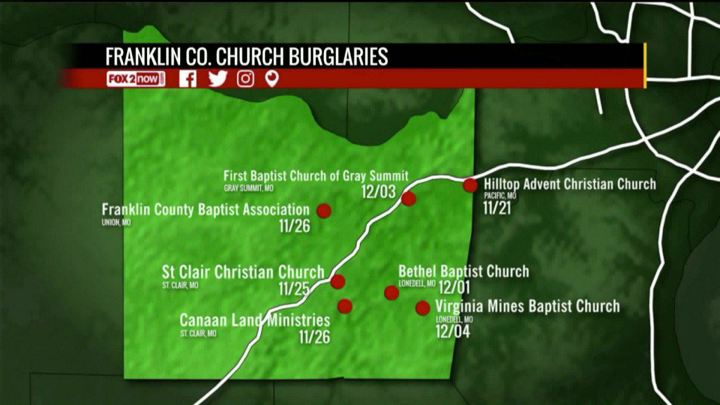 Seven Franklin County churches recently burglarized