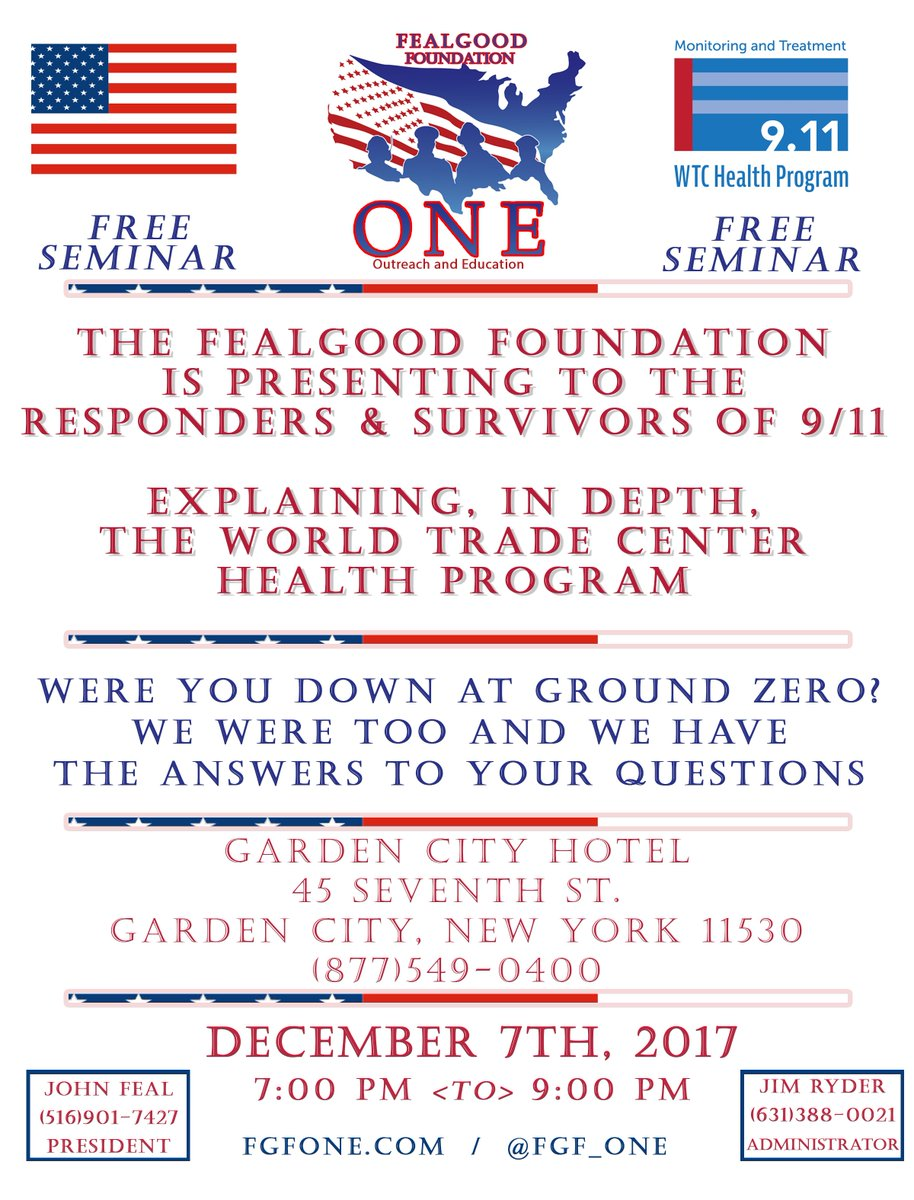 test Twitter Media - Are You a 9/11 Responder? Were U there? FealGood Foundation Outreach & Education is hosting a 2-Hour WTCHP Presentation @ Garden City Hotel, Garden City NY on 12/7/2017 from 7-9PM. #KnowledgeIsPower Come with @wtchp Questions & leave w/Answers! @FGF_OnE https://t.co/DPRDquopI0