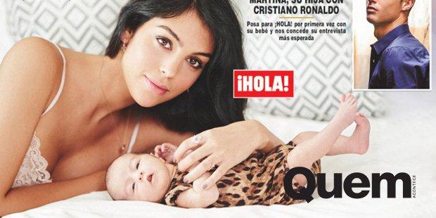 Cristiano Ronaldo. Foto do site da Quem Acontece que mostra Usando body de grife, filha de Cristiano Ronaldo faz primeira capa ao lado da mãe.