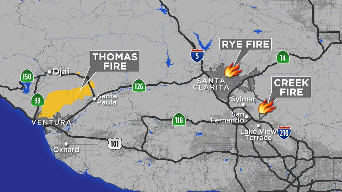 There Are 3 Major Brush Fires Burning In Socal Thomas Fire Rye