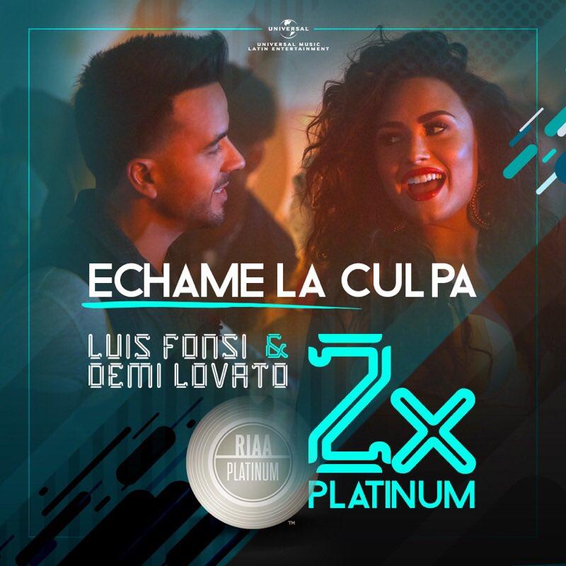 #EchameLaCulpa is officially DOUBLE PLATINUM!!! Thank you guys �� Love you! @LuisFonsi https://t.co/Anr092Eafl https://t.co/wNyhH78KzC