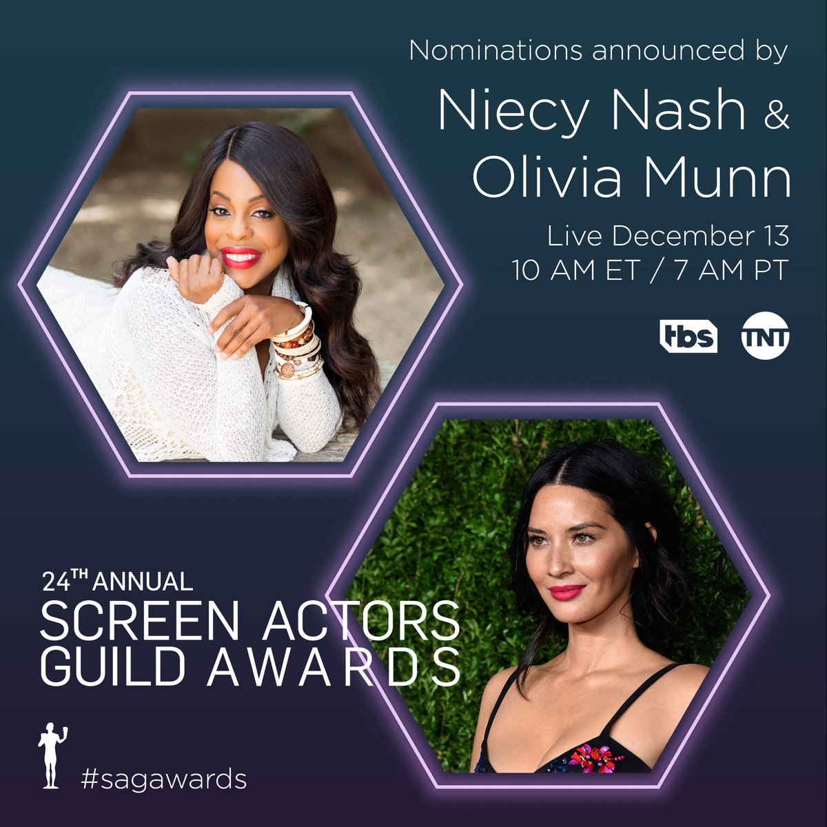 Excited to present #sagawards nominations with @niecynash on live Dec. 13 on @tntdrama & @tbsnetwork ???????????????? https://t.co/1sisyAHpKj