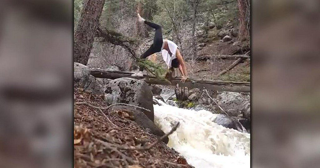 Woman does yoga pose over rushing river – what could possibly gowrong?