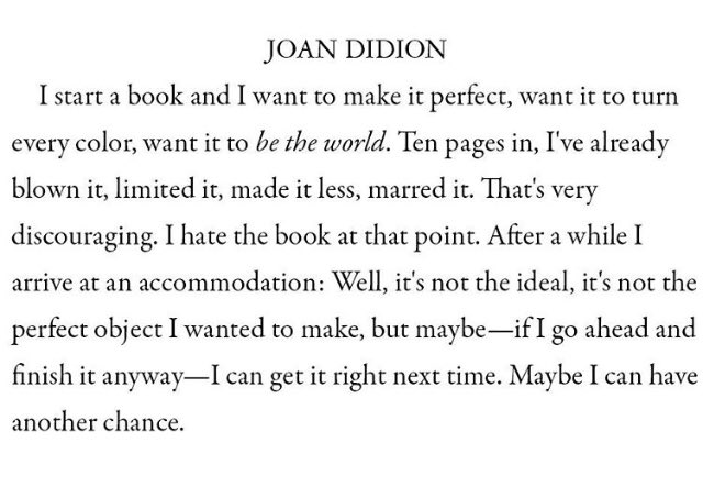 Happy birthday Joan Didion.  Making an album is just the same. C/o