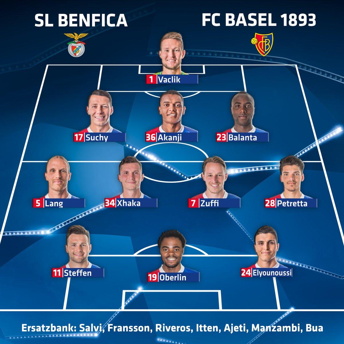 RT @SpheraSports: #UCL | XIs confirmados:  Benfica 🆚 Basel https://t.co/c4iimTkqVv