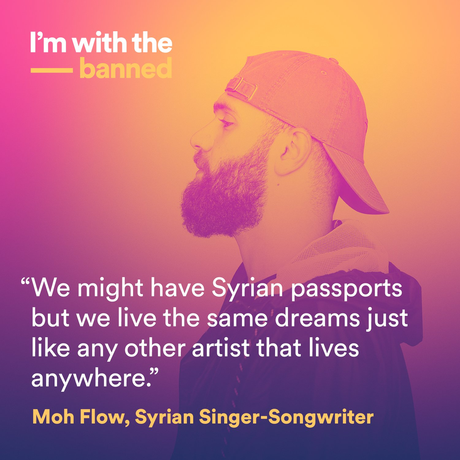 Meet @MohFlowMusic, a Syrian singer-songwriter. #ImWithTheBanned https://t.co/i9zE87MCZy https://t.co/UEDV8FzUEj