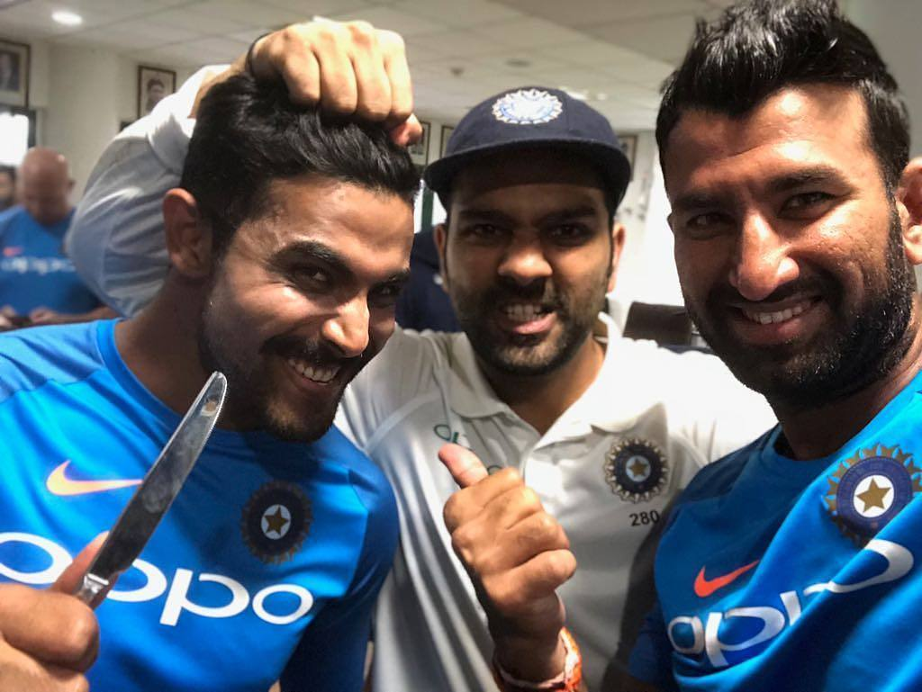 Happy Birthday Ravindra Jadeja. Jadeja Celebrating Birthday with Rohit Sharma & Cheteshwar Pujara!