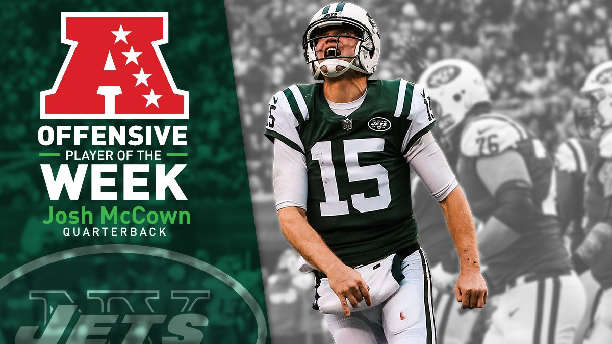 The AFC Offensive Player of the Week: @JoshMcCown12!   READ → https://t.co/DFTxXFdE3e https://t.co/QZokNMAuaQ