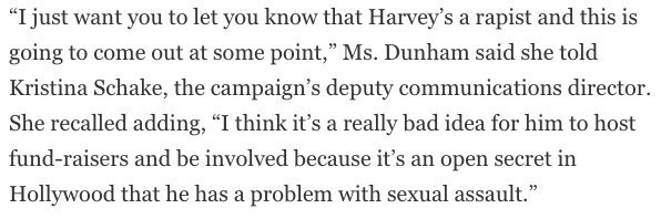 .@LenaDunham says she warned Clinton campaign about Harvey Weinstein but was ignored