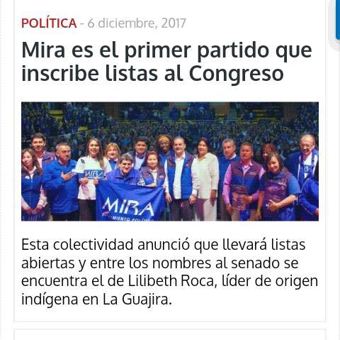 Diario Pilon en el Cesar registra inscripción de lista a senado del partido MIRA @MovimientoMIRA @Virguez @Baena https://t.co/JipqDwtJzN