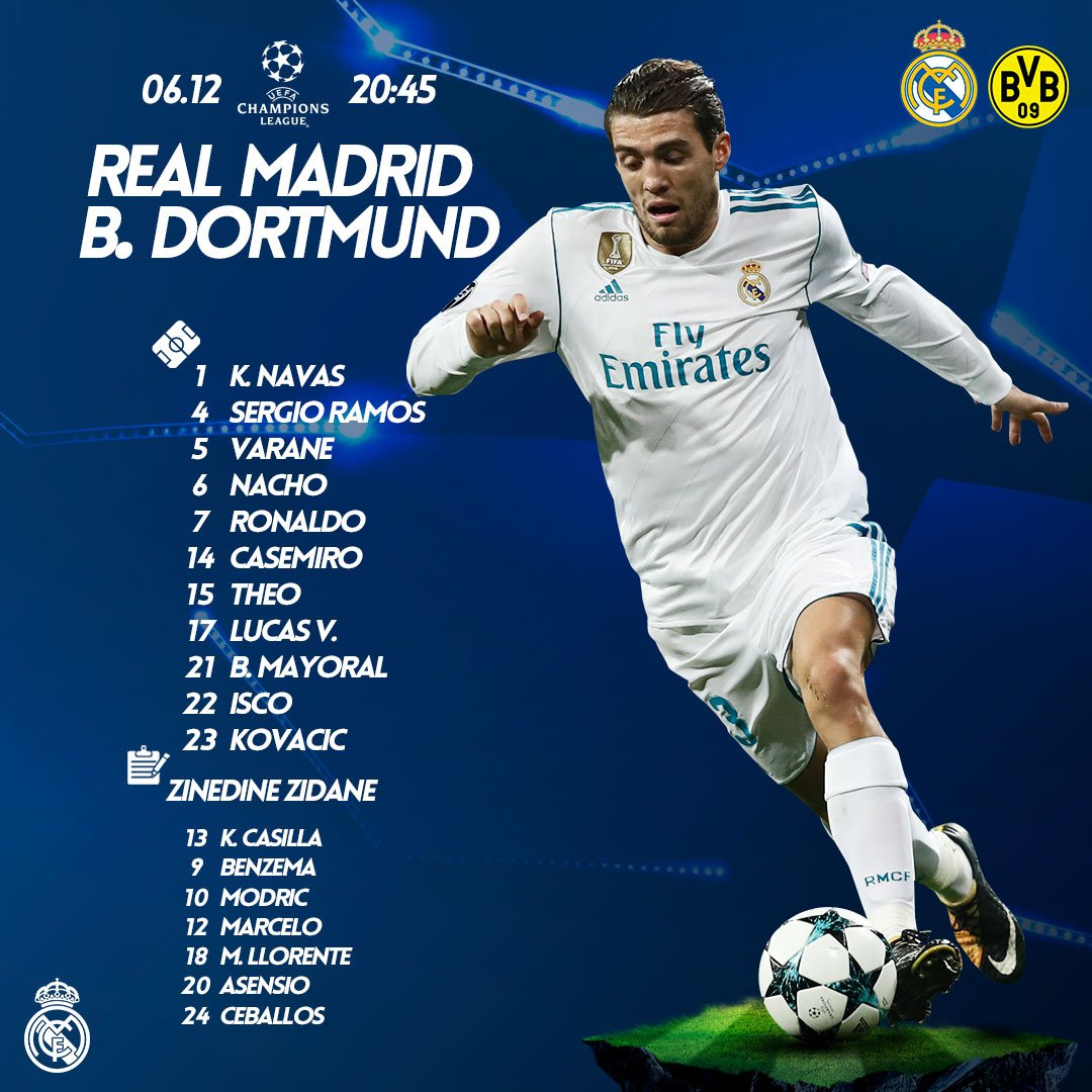 RT @realmadriden: 📝 This is our starting XI for tonight's Champions League match against @BVB. #RMUCL | #HalaMadrid https://t.co/grAsxqYNOM