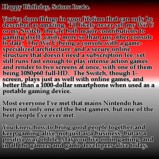 Happy Birthday, Satoru Iwata.