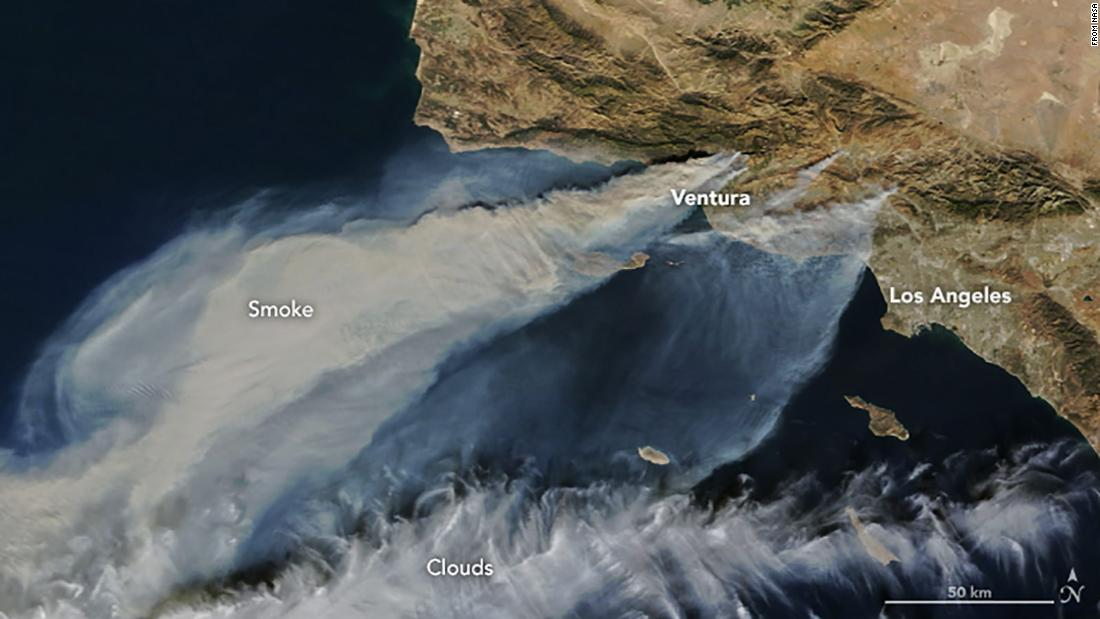 This is what California's wildfires look like 438 miles above Earth