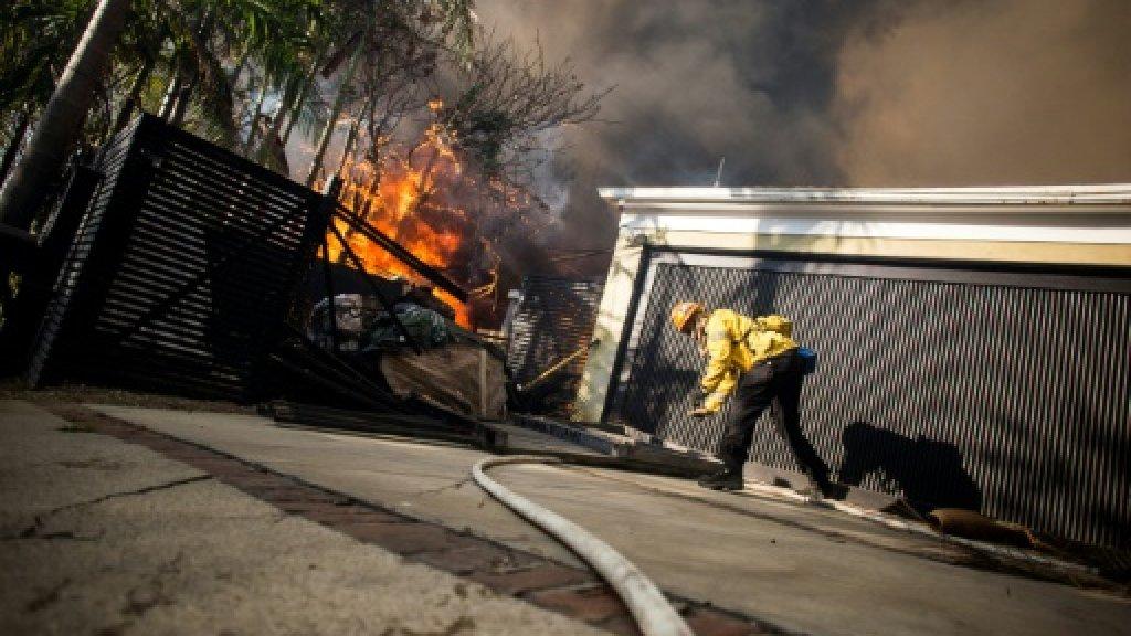 New blaze ignites near LA as fierce California wildfires rage