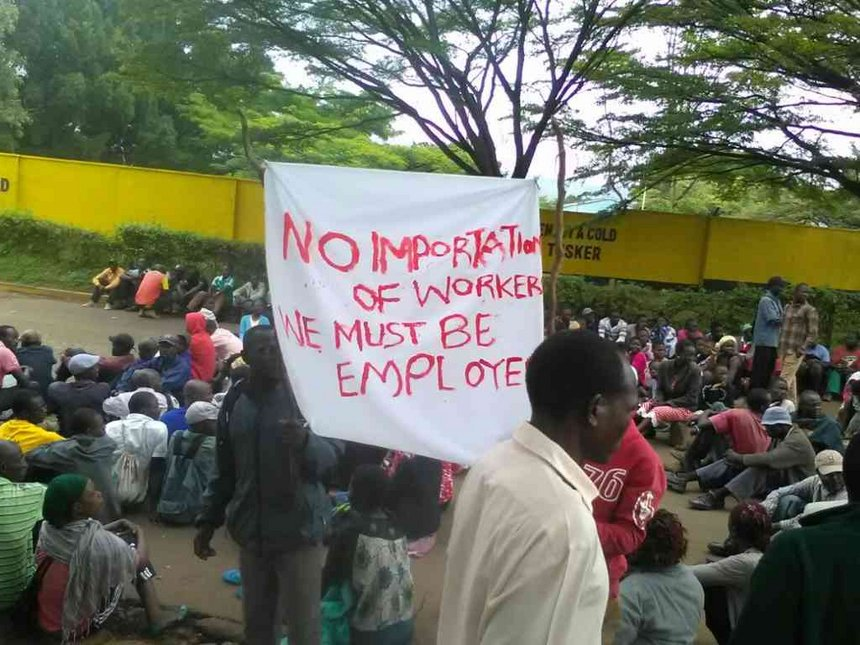 Kisumu residents protest outside EABL, say non-locals must get jobs