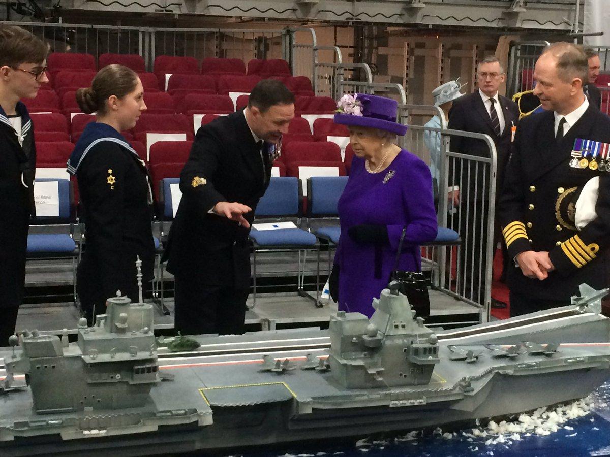 RT @RoyalReporter: The Queen on the hangar deck of HMS Queen Elizabeth https://t.co/WrOe3kyxN5
