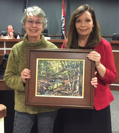 test Twitter Media - At Tuesday night's Board of Aldermen meeting, Mayor Johnston recognized Chris Willey for receiving the City's Paint Parkville purchase award for her plein air painting of the Parkville Nature Sanctuary. https://t.co/dKpLumd9Uq
