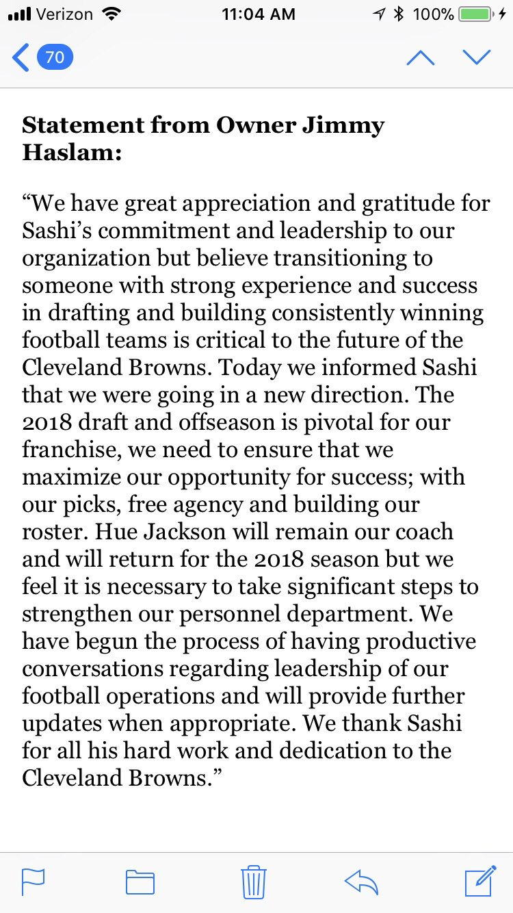Here is the statement from #Browns owner Jimmy Haslam on the firing of Sashi Brown and keeping coach Hue Jackson https://t.co/QSAP5LGhOB